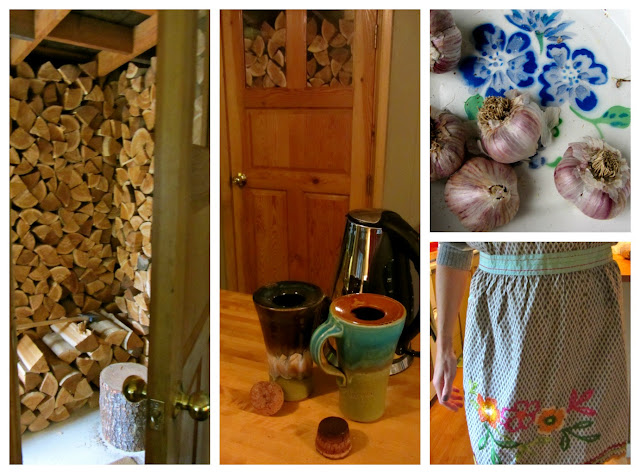 collage of pics. woodpile at the front door, pottery travel mugs, embroidered apron, purple garlic in an enamel bowl