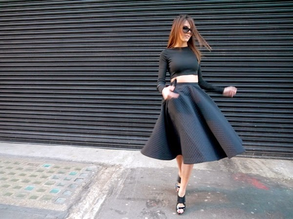 Black crop top and midi skirt in Mayfair