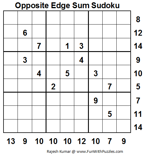 Opposite Edge Sum Sudoku (Fun With Sudoku #30)