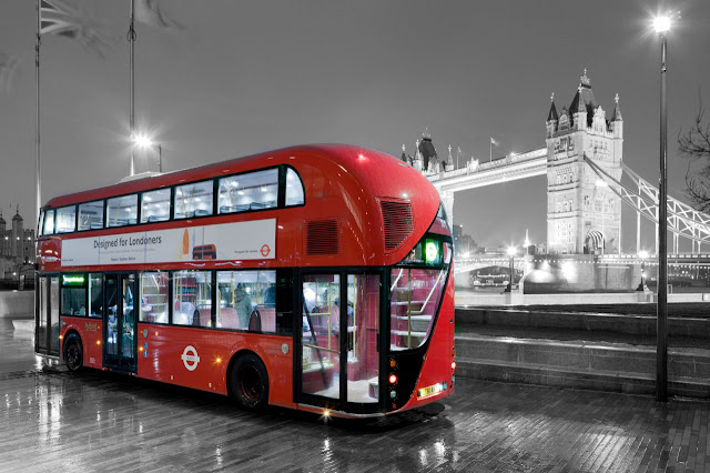 London bus and bridge black and white photography with color