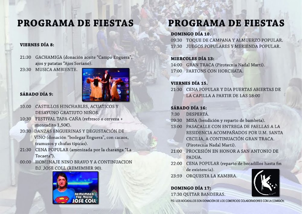 PROGRAMA ACTOS FIESTAS SAN ANTONIO DE PADUA 2018