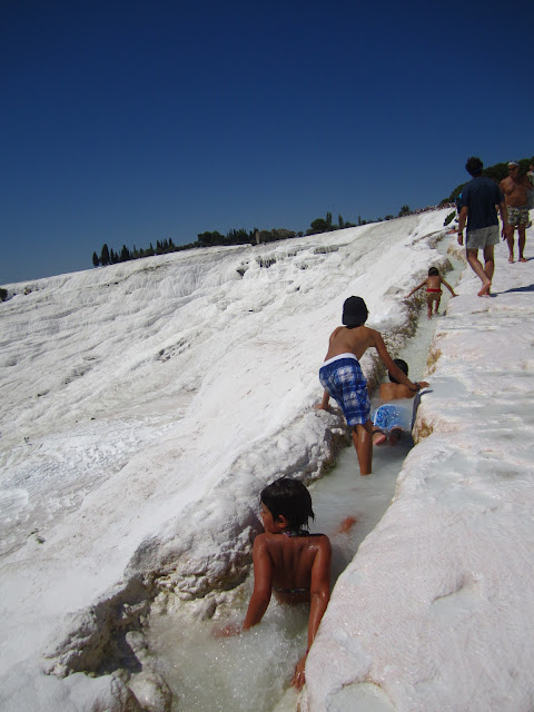 These are the travertines of Pamukkale.