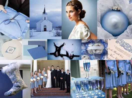 For a winter wedding use the colors of snow Blue and white make a stunning