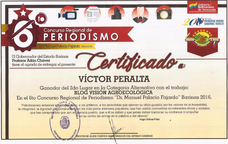 "II Lugar Premio de Periodismo ""Dr. Manuel Palacio Fajardo"" 2016"