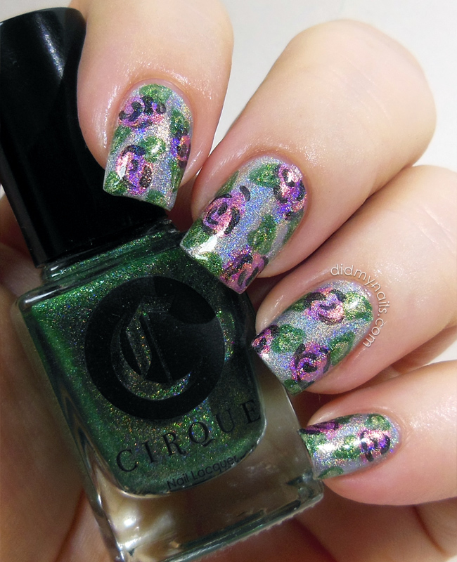 flower nail art with holographic polish
