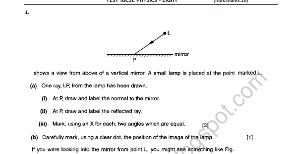Download & Study: Light - Test Paper IGCSE Physics with Solution