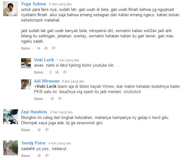 komentar di video kampanye PKS