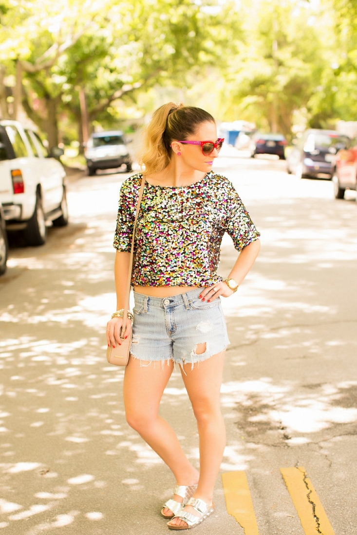 sequin crop top with cutoff shorts