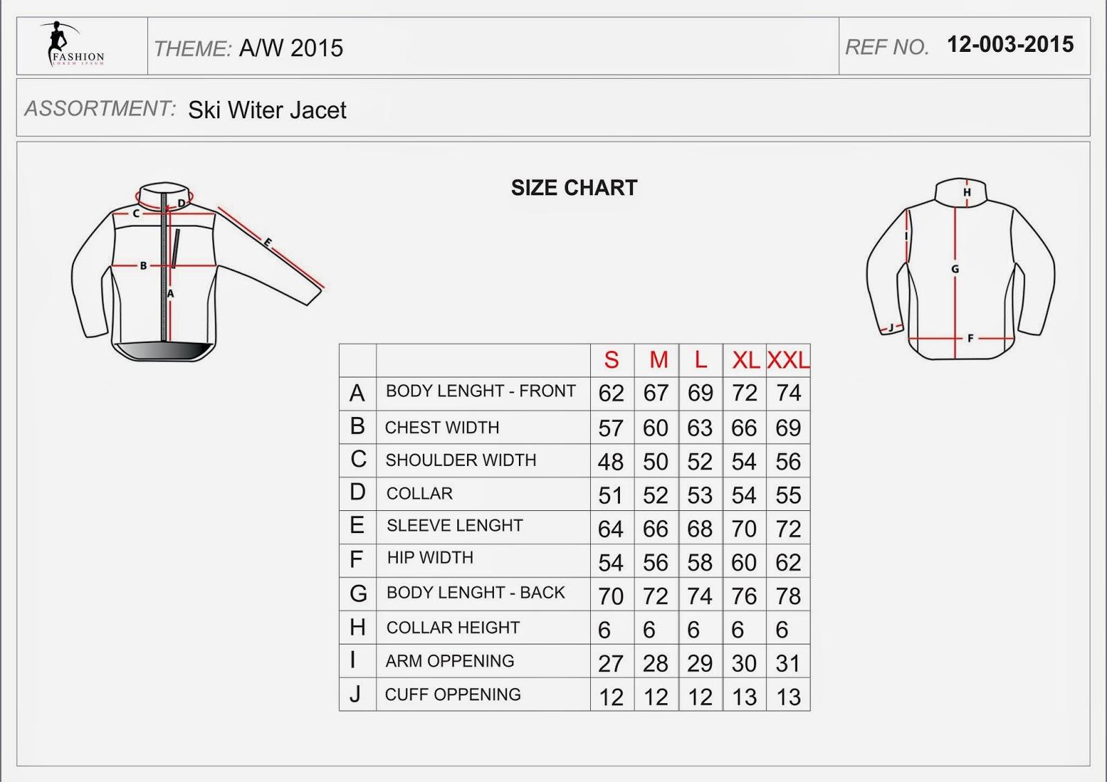 karta produktu - karta rozmiarów