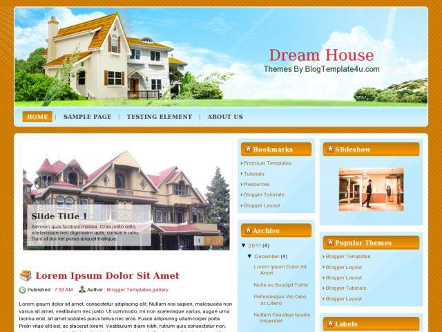 Free premium blogger templates dream house blog template for Building our dream home blog
