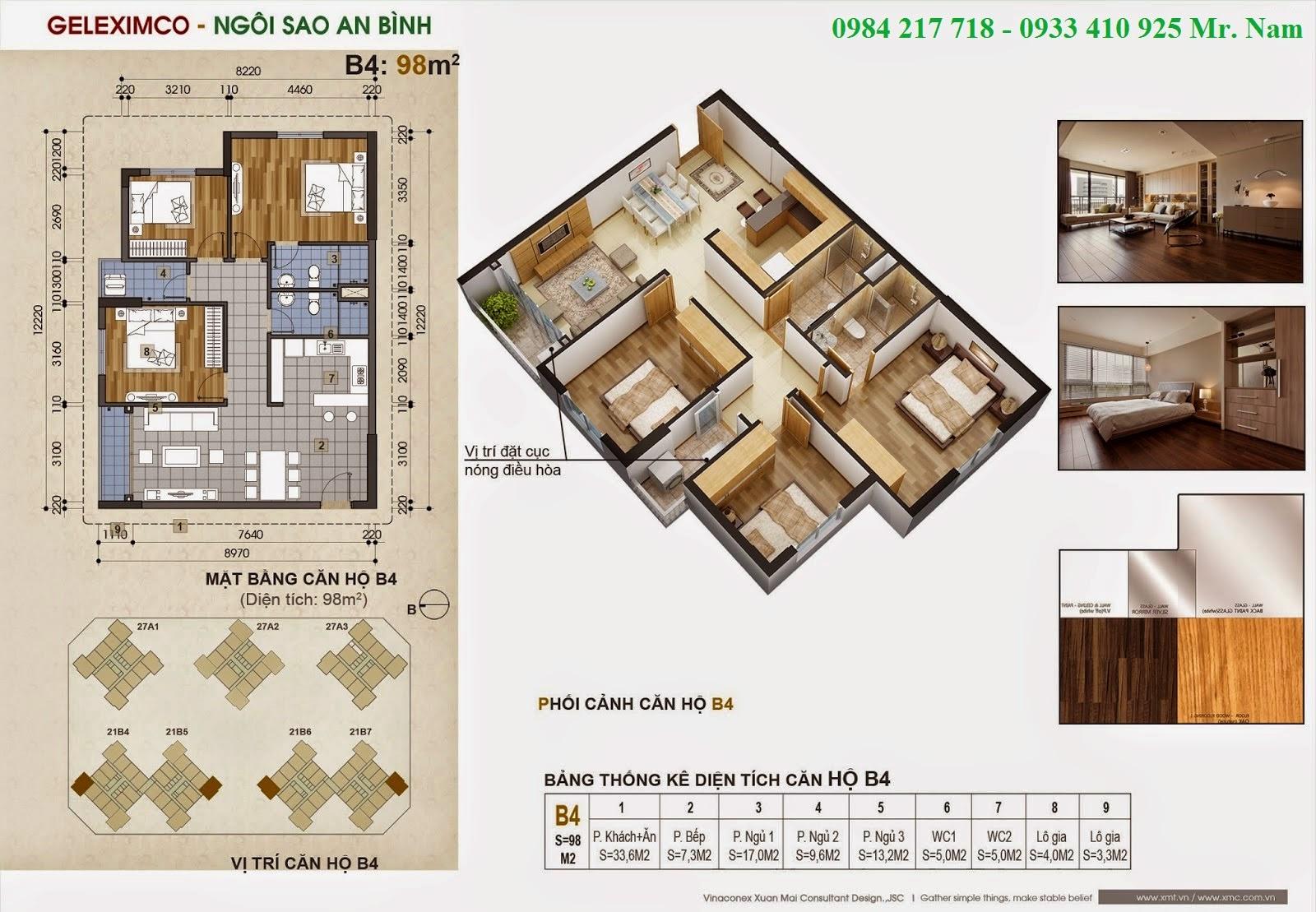 Thiết kế căn hộ B4 diện tích 98 m2 chung cư Green Stars