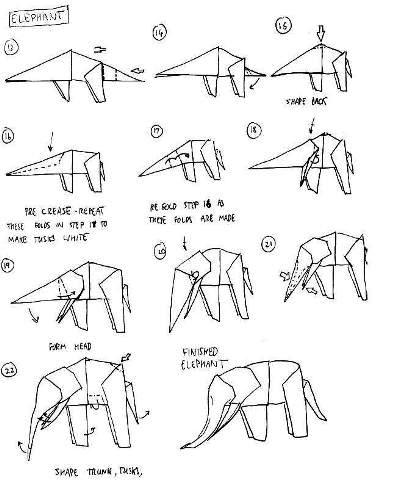 Origami Animal Instructions Elephant
