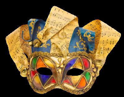 Máscara Carnaval PNG- Arlequim musical
