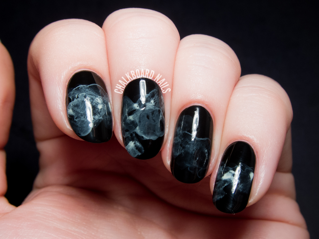 Midnight Smoke Nail Art
