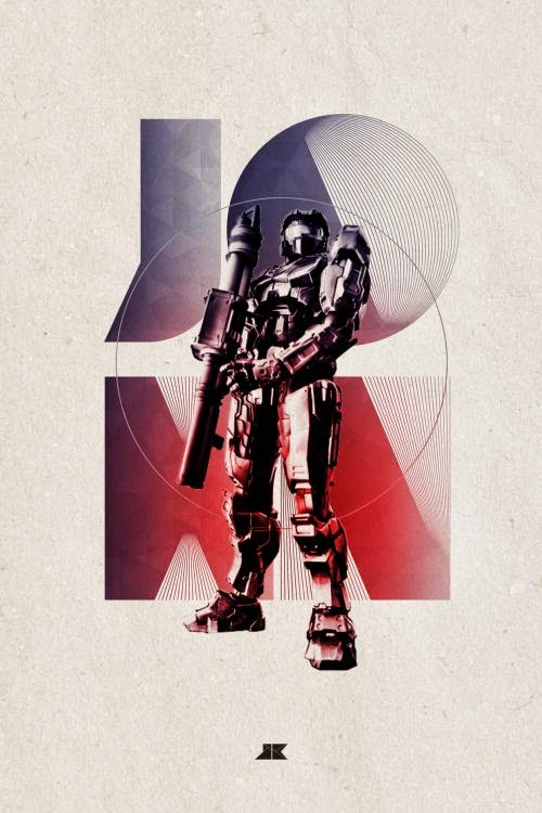 Josip Kelava typographic illustrations super heroes villains comics games movies Master Chief John-117 - Halo