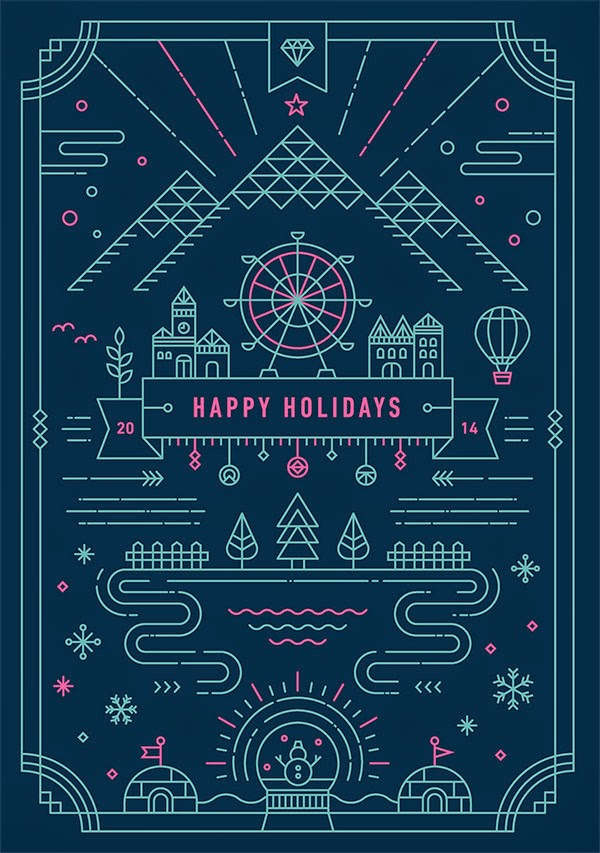 Inspirasi Desain Line Art - HOLIDAY GREETING CARD BY YIWEN LU