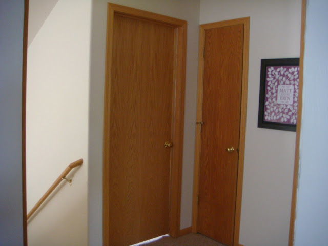 Magenta and lime the hall with six doors for Door frame color ideas