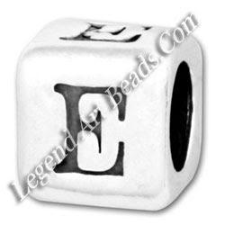 Silver E style Beads