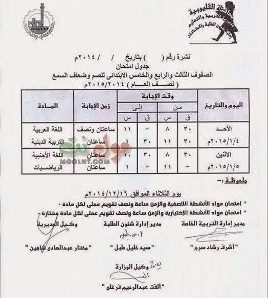 جداول امتحانات الابتدائيه ( شهادة ونقل ) للصم والبكم الفصل الاول القليوبية 2015