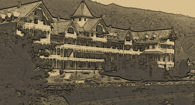 Kviknes Hotel in Balestrand looks positively frightening in this altered view. Photo: Kviknes Hotel. Effects: EuroTravelogue™.