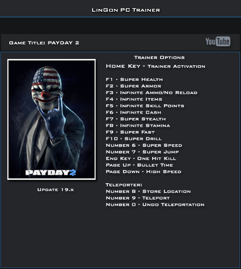PAYDAY 2 v19.1 Trainer +17 [LinGon]