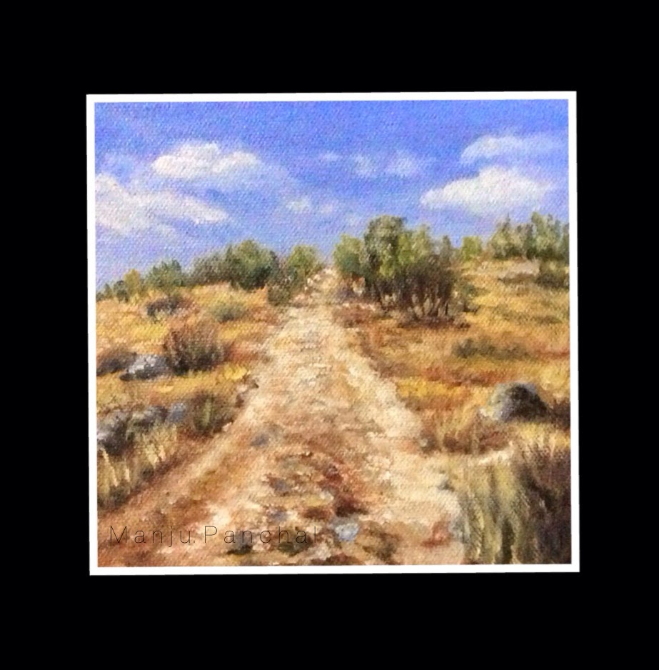 "Oil painting of a landscape done on 6"" X 6"" canvas by Manju Panchal"