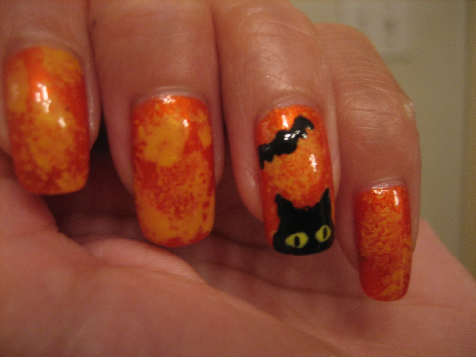 Awesome Nails By Nicole: Halloween Cat Nail Tutorial!! :D