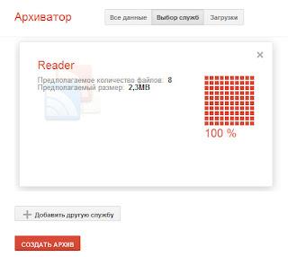 создать архив данных из google reader