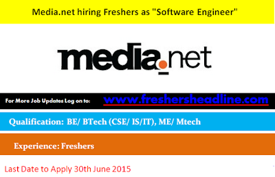 "Media.net hiring Freshers as ""Software Engineer"""