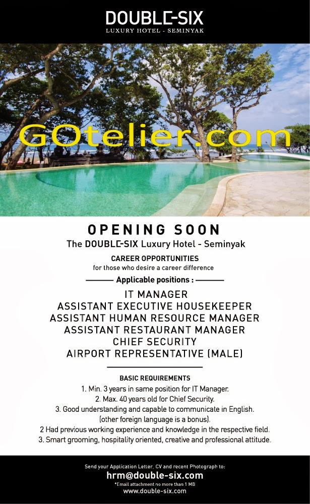 Jobs Vacancy at The Double-SIX Seminyak as IT Manager, Housekeeper