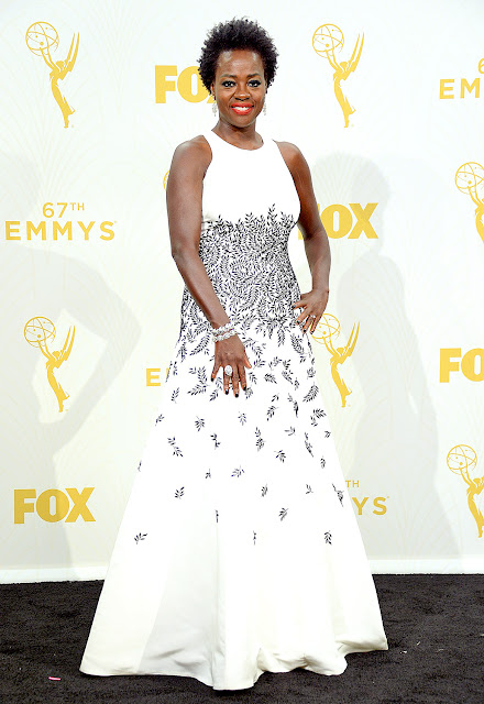 voila davis shonda rimes how to get away with murder 2015 emmys speech diversity Carmen Marc Valvo dress