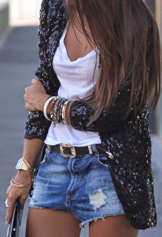 Sequin blazer with jean shorts and white tee