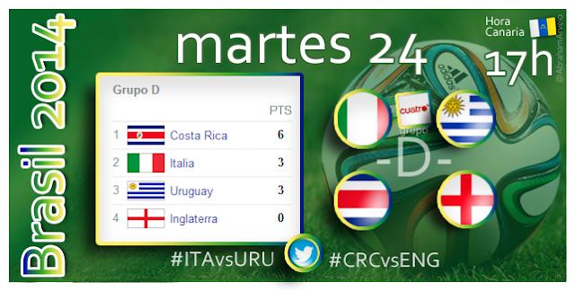 Italia - Uruguay (17.00h) Costa Rica - Inglaterra (17.00h) #Mundial2014 #Canarias