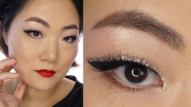 HOLIDAY OR PARTY LOOK: GOLD GLITTERS AND RED LIPS
