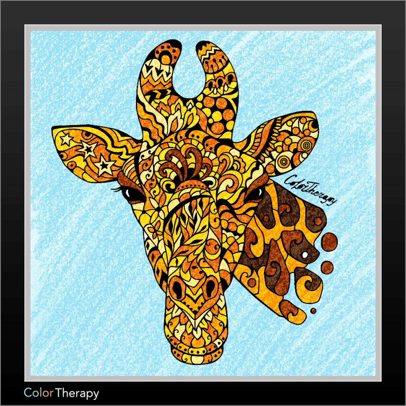 Color therapy anti stress coloring book app - Color Therapy Giraffe Jpg