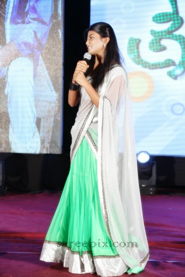 Haasika-half-saree-Green-signal-audio-launch