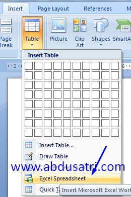 cara memindahkan tabel excel ke word