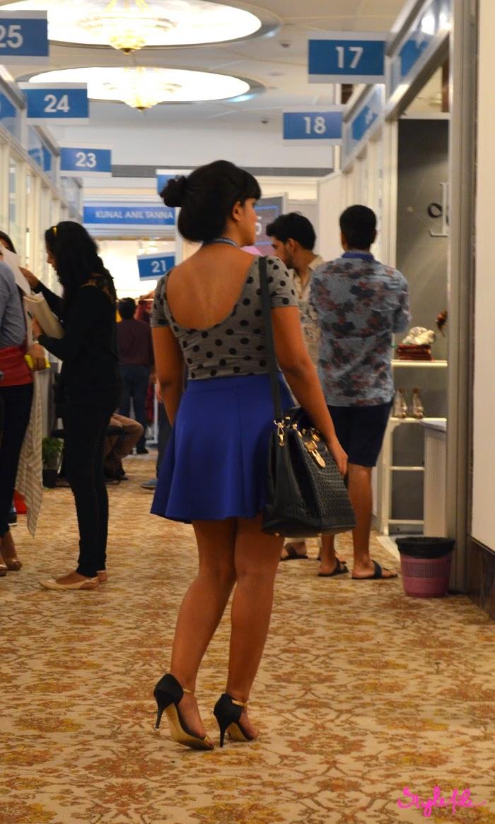 polka dots, scoop back, satchel, skater skirt, stilettos, outfit, lookbook, blogger, fashion, top knot