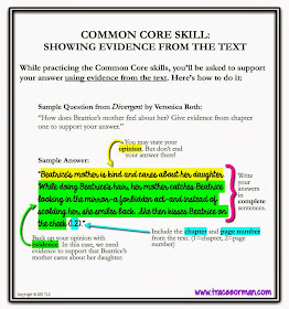 Common Core Skills: How to show evidence from the text. From www.traceeorman.com