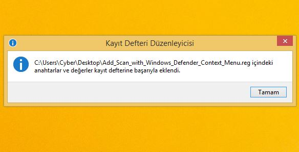 Windows Defender Sağ TIk