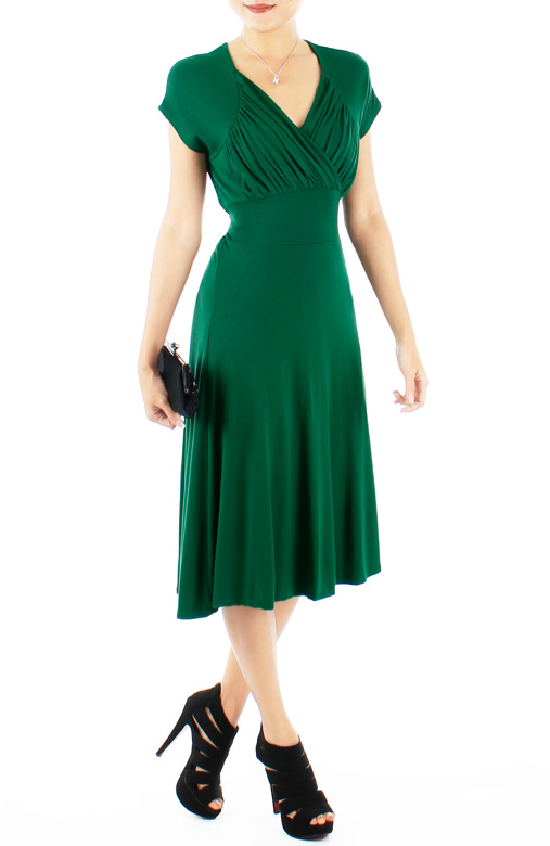 Malachite Green Shell Wrap Ruched Knee Length Dress with Keyhole Back