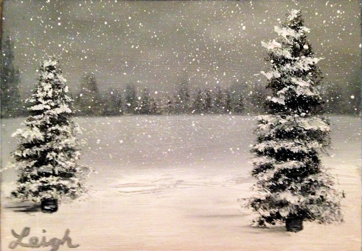 Let it Snow!  - Oil on Wood - 3 X 5 - $35