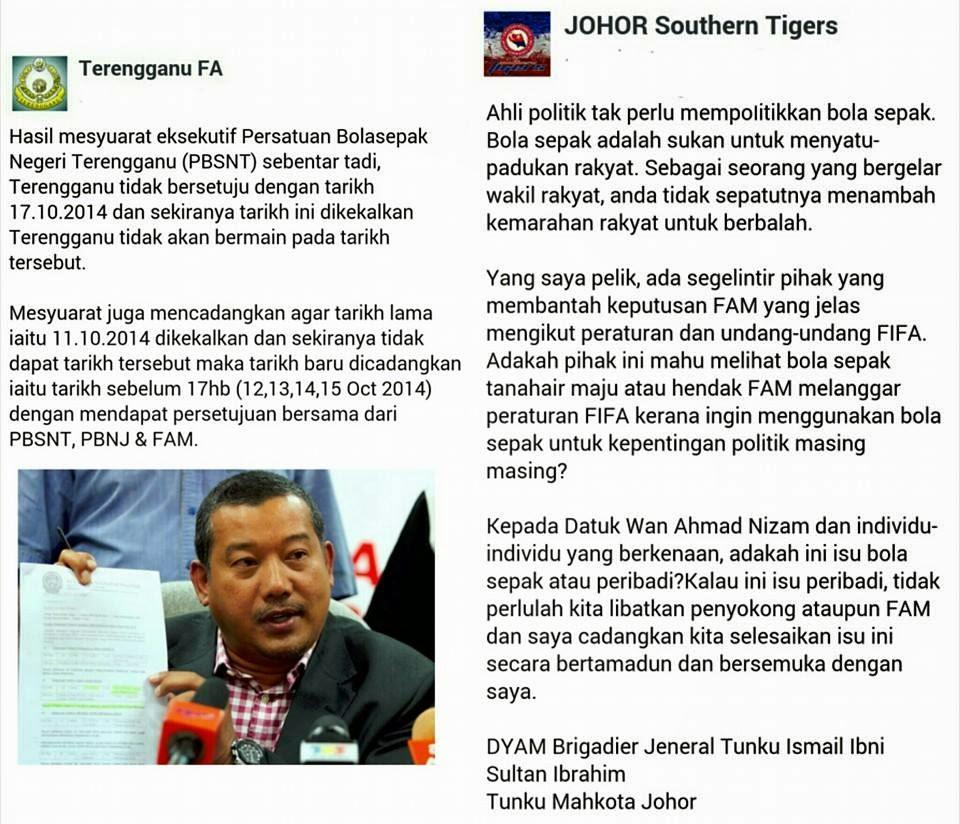 Terengganu Ancam Boikot Suku Akhir Kedua Dengan JDT