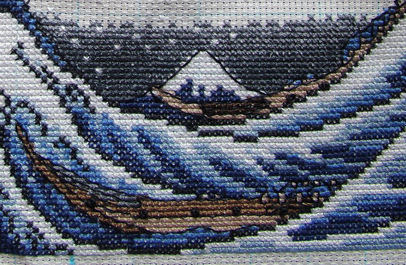 Большая волна в канагаве вышивка