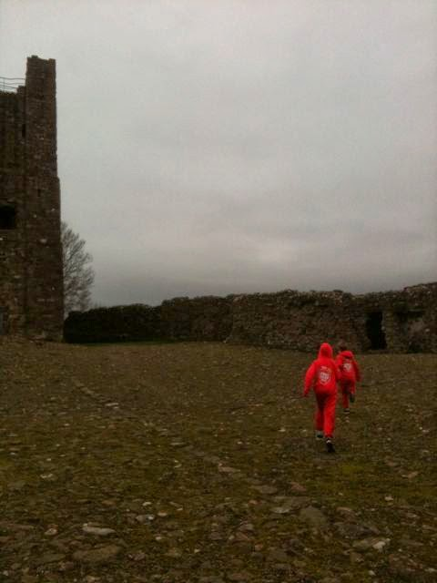 running on cobbles at Brough Castle