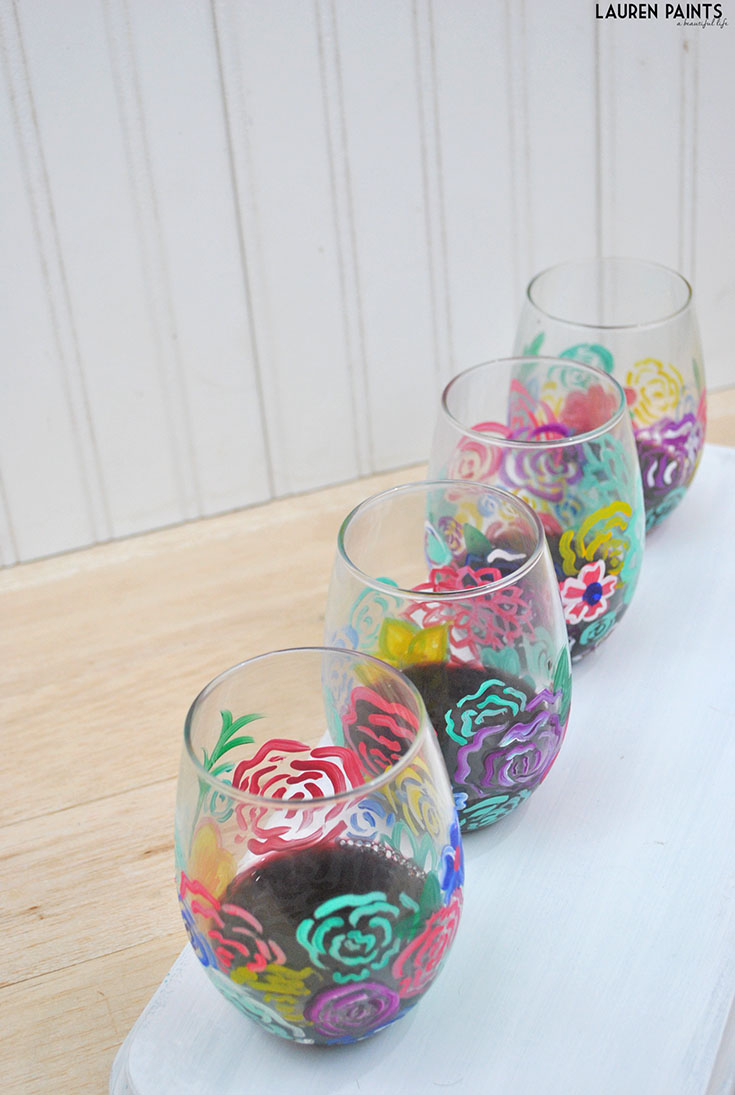 DIY Spring Flowers Painted Wine Glasses Tutorial with Finish® & a Target GC Giveaway