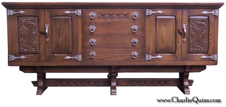 . Retro Furniture  Old Charm Wood Bros Tudor Sideboard Cabinet