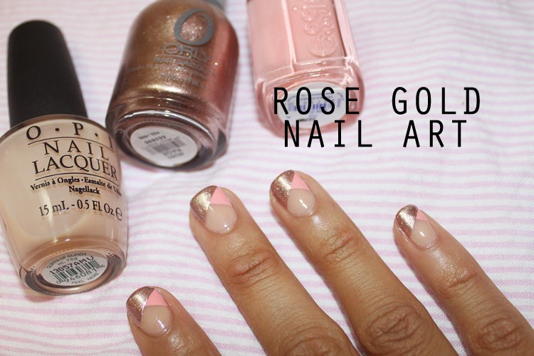 rose gold nail art with OPI - Glints of Glinda, Essie - Van D'Go and Orly - Rage