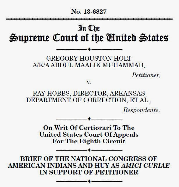 Cover of amicus brief filed in Holt v. Hobbs