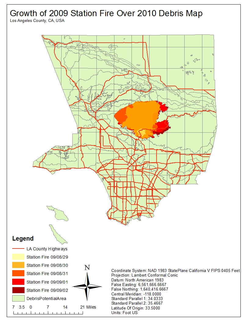 the 2009 station fire created a amount of debris rarely seen before the above map depicts both the growth of the station fire in the end of august and